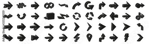 Photo 3D arrows pictograms vector set