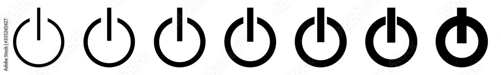 Fototapeta Power Button Icon Black Line | On Off Buttons Illustration | Start Symbol | Shutdown Logo | Logout Sign | Isolated | Variations