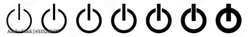 Fototapeta Power Button Icon Black Line | On Off Buttons Illustration | Start Symbol | Shutdown Logo | Logout Sign | Isolated | Variations obraz