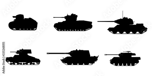 Set Silhouette Tank American German Britain Soviet French World War 2 icons Wallpaper Mural