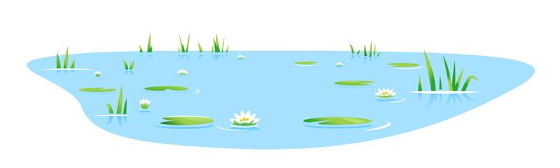 Mali plavi ukrasni ribnjak s izoliranim biljkama i bijelim lopočima, jezerske biljke priroda krajolik ribolovno mjesto, ukrasni ribnjak u vrtu krajobraznog dizajna