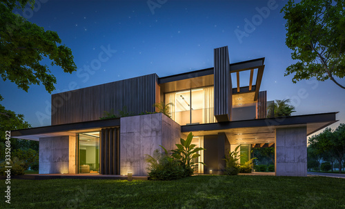 Obraz 3d rendering of modern cozy house with parking and pool for sale or rent with wood plank facade and beautiful landscaping on background. Clear summer night with many stars on the sky. - fototapety do salonu
