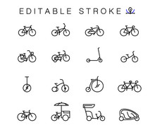 Bicycle Types Vector Linear Icons Set. Outline Symbols Pack With Editable Stroke. Collection Of Simple 16 Bicycle Types Icons Isolated Contour Illustrations.  Bmx,  Touring, Dirt, Female Bike.