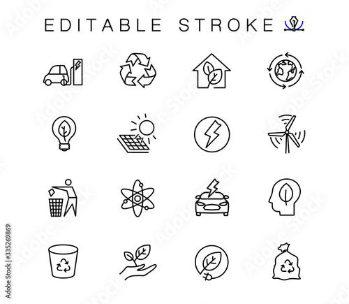 Canvastavla Alternative energy sources vector linear icons set