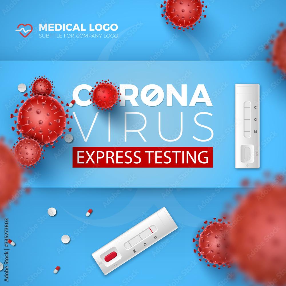 Fototapeta Coronavirus Express Testing card. Covid-19 rapid tests and 3d red virus cells on blue background. Coronavirus disease 2019, Vector illustration design of blood test.
