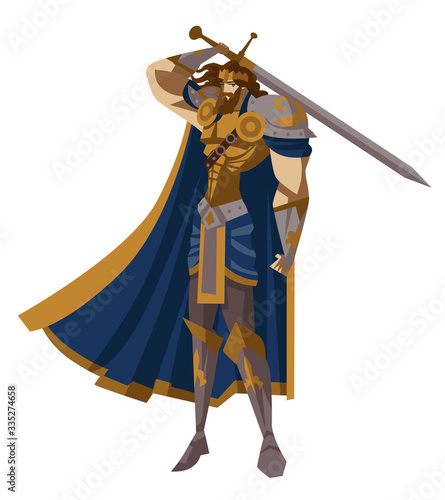 Photo royal knight king arthur with excalibur warrior