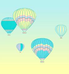 Dream symbol. Air transport illustration. Flat line design illustration. Aerostats festival.