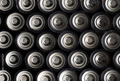 Batteries, top view, rows of alkaline battery AA size format Canvas