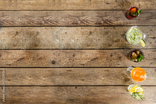 Selection of summer alcohol drinks - mocktails and cocktails Canvas Print