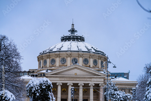 Photo Detail view over the Romanian Athenaeum or Ateneul Roman, in the center of Bucha