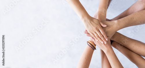 Stack of hands. Unity and teamwork concept. Wallpaper Mural