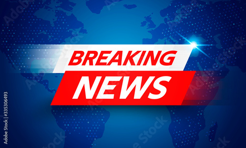 Fototapeta Vector Illustration Breaking News Live Banner on Glowing World Map Business Interface Background obraz