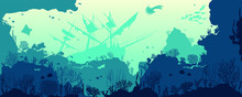 Silhouette Of Coral Reef With Fishes And Wreck On Bottom In Blue Sea. Vector Nature Illustration. Marine Underwater Life.