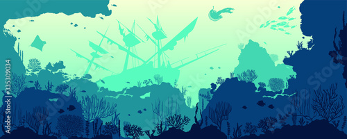 Silhouette of coral reef with fishes and wreck on bottom in blue sea Fototapeta