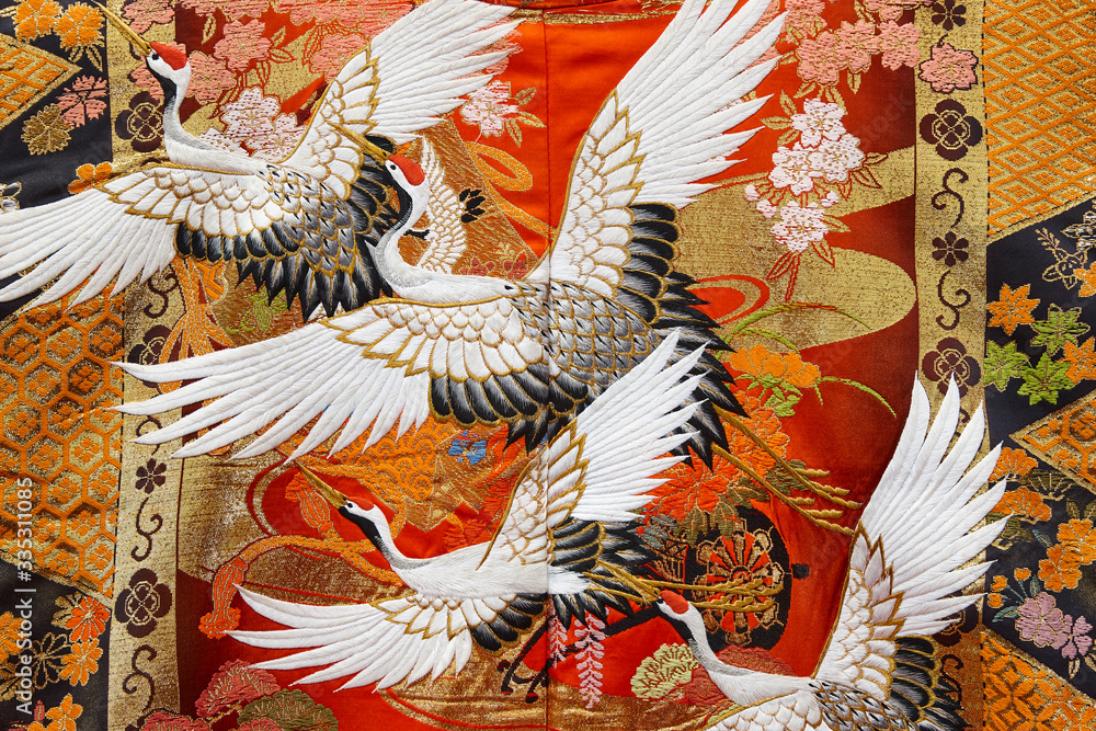 Traditional japanese kimono textile pattern style with crane element