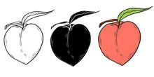 Set Of Peaches In A Graphic Il...