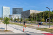 Cityscape Kirchberg, area of Luxembourg with modern buildings European Union