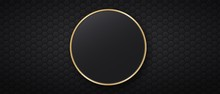 Black Background With Hexagonal Tiles And Round Golden Frame