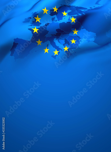 Waving flag of Europe European Union - Full page cover design Fototapete