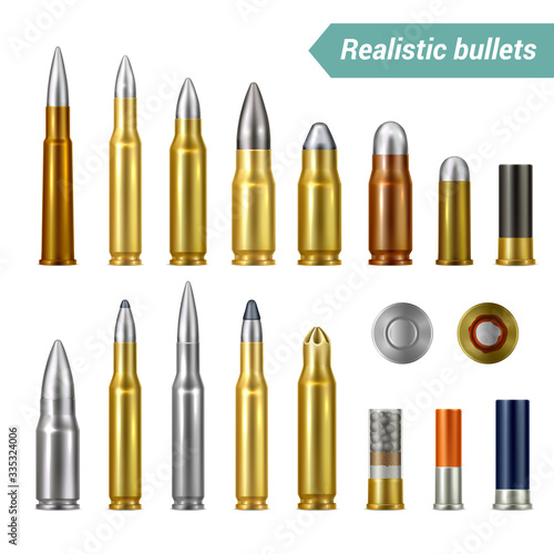 Fotografiet Bullets And Cartridges Realistic Set