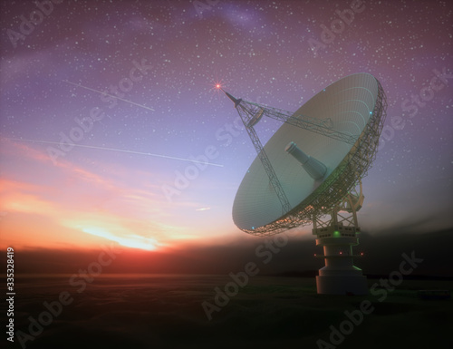 Photo Huge satellite antenna dish for communication and signal reception out of the planet Earth