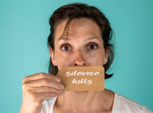 Silence Kills Typographic Quote.