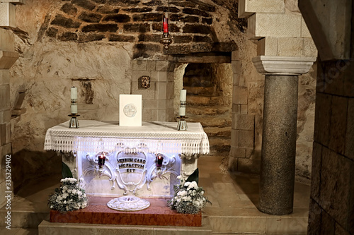 Grotto of the Annunciation (lower level of the church), the Basilica of the Annu Canvas Print