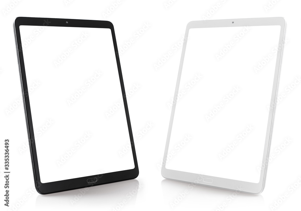 Fototapeta Set of black and white tablet computers, isolated on white background