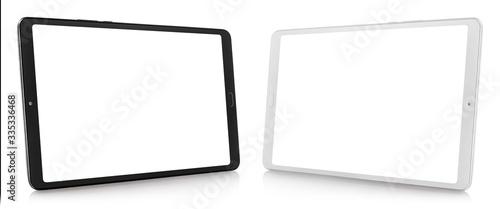 Fototapeta Set of black and white tablet computers, isolated on white background obraz