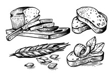 Hand Drawn Sliced Bread And Wh...