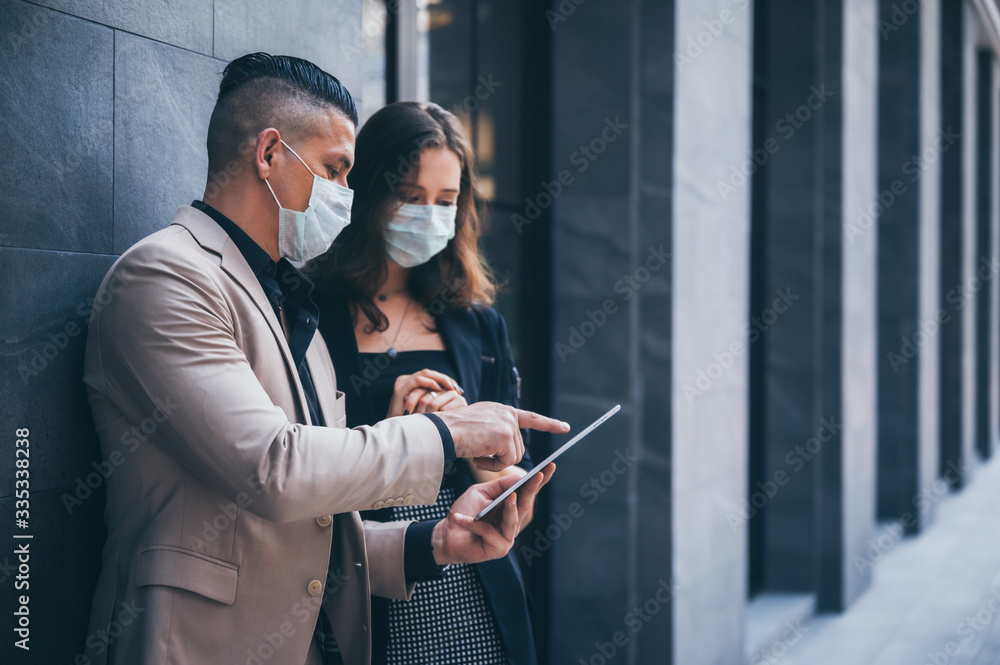 Fototapeta business worker with mask, COVID-19 protection concept