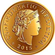 Obverse Of 5 Centimes Gold Coin Swiss Franc With Head Of Liberty And Legend CONFOEDERATIO HELVETICA, Official Coin In Switzerland And Liechtenstein