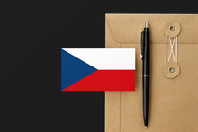 Czech Republic Flag On Craft Envelope Letter And Black Pen Background. National Invitation Concept. Invitation For Education Theme.