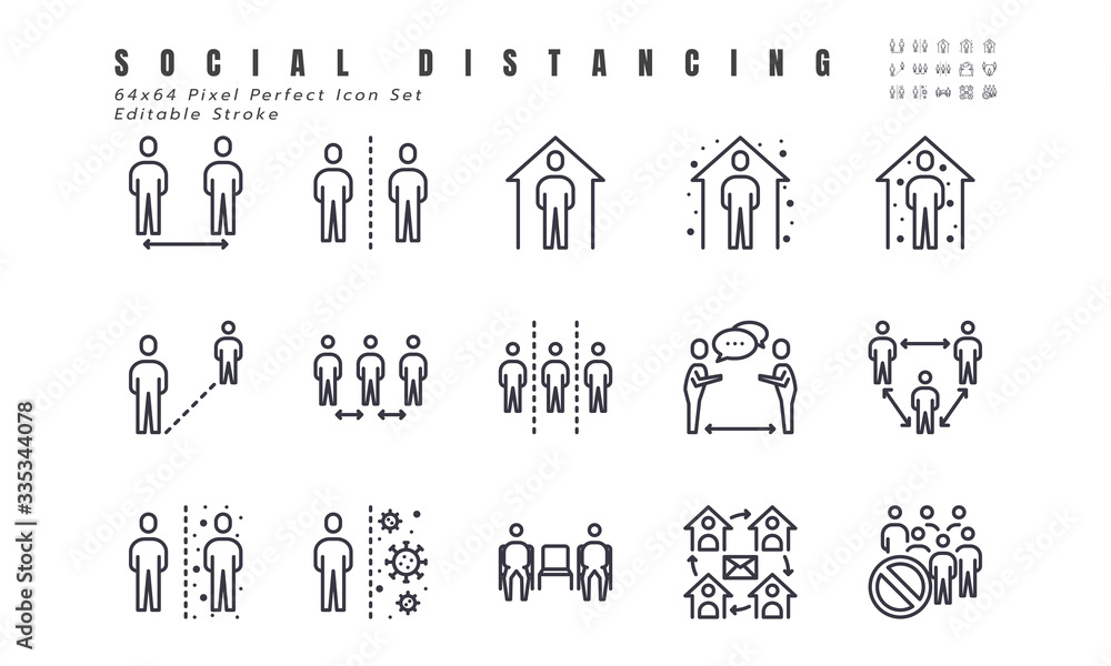 Fototapeta Simple Set of Social Distancing, Coronavirus Disease 2019 Covid-19 Line Icons such Icons as Stay Home, Quarantine, Work from Home, Avoid Crowded Place. 64x64 Pixel Perfect Editable Stroke Vector.