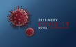 Coronavirus illustration - Microbiology And Virology Concept - with text on blue background. Virus Pandemic Protection Concept
