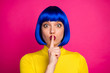 canvas print picture - Shh. Closeup photo of attractive funny lady modern look hold finger on lips big eyes wear stylish yellow turtleneck blue short blue wig isolated vibrant pink color background