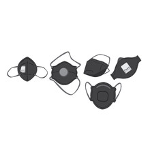 Respirators Set On A White Background. Respiratory Protection Collection Of Respirators. Half Masks With Elastic Band For Protection From Dust And Viruses