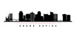 Grand Rapids skyline horizontal banner. Black and white silhouette of Grand Rapids, Michigan. Vector template for your design.