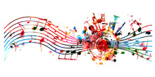 Music Background With Colorful...