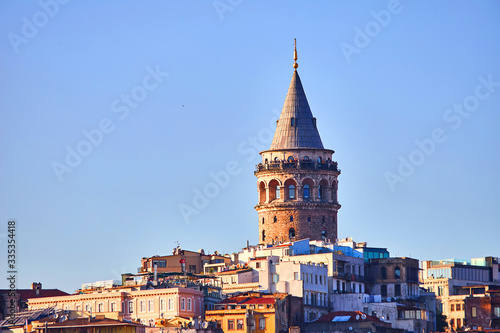 Canvas Istanbul cityscape in Turkey with Galata Kulesi Tower