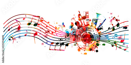 Billede på lærred Music background with colorful music instruments and vinyl record disc vector illustration