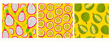 Fresh Juicy Dragon Fruit, Passion Fruit And Durian. Cut In Half. Product Of Thailand. Tasty Slice Or Piece. Hand Drawn Colored Vector Illustrations. Set Of Three Seamless Patterns, Backgrounds