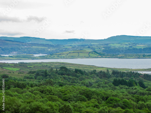 Irish Landscape, Bantry Bay, Mountains with Haze and Clouds Wallpaper Mural