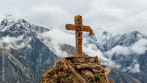 Panoramic photograph of the Cross of the Condor, the famous place in the Colca Canyon for bird watching and spot the Andean Condor, Arequipa region, Peru Canvas Print