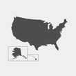 USA map. Vector illustration on gray background