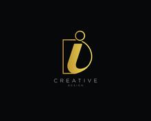 Letter DI Logo Design, Creative Minimal DI Monogram In Gold Color