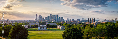 Greenwich Park, Canary Wharf and the Docklands in London at sunset - High resolution panoirama