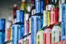 Full Frame Shot Of Empty Colorful Bottles