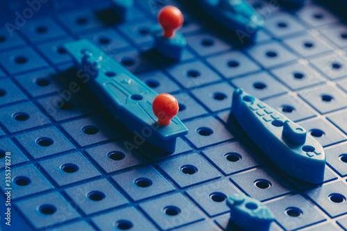 Foto Board game sea battle. Quarantine games and hobbies