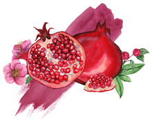Watercolor Illustrations Of Pomegranate For Wedding Cards, Romantic Prints, Fabrics, Textiles And Scrapbooking.